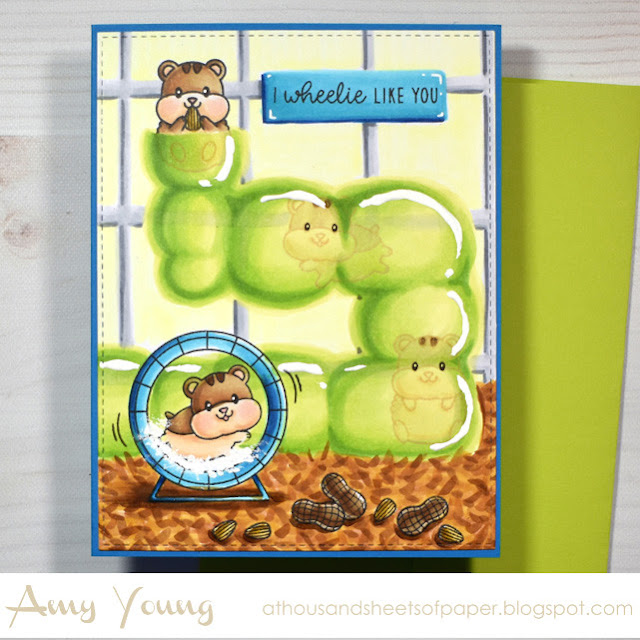 Sunny Studio Stamps: Happy Hamster Card by Amy Young