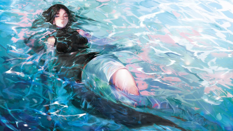 Anime, Girl, Floating, in the Water, 4K, #6.2612