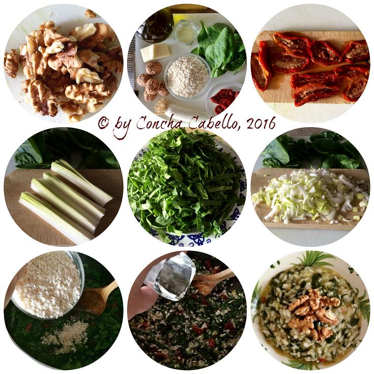 risotto-espinacas-tomates-nueces-pasos