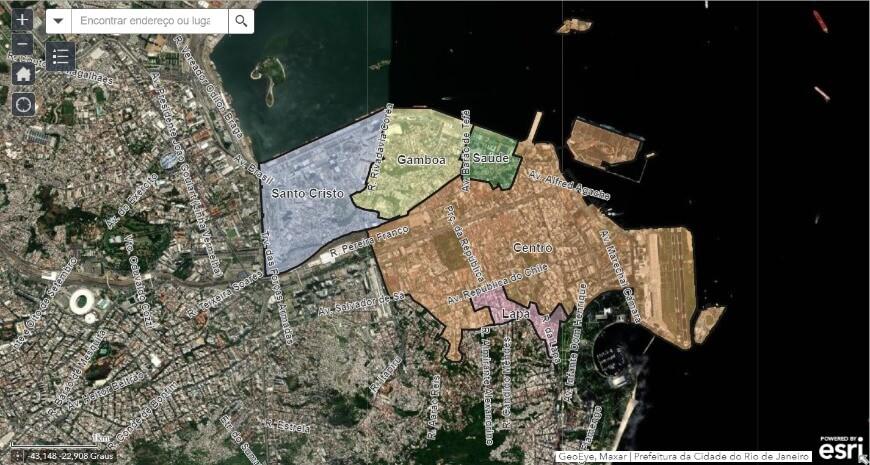 mapa interativo da plataforma digital interativa do Plano Reviver Centro