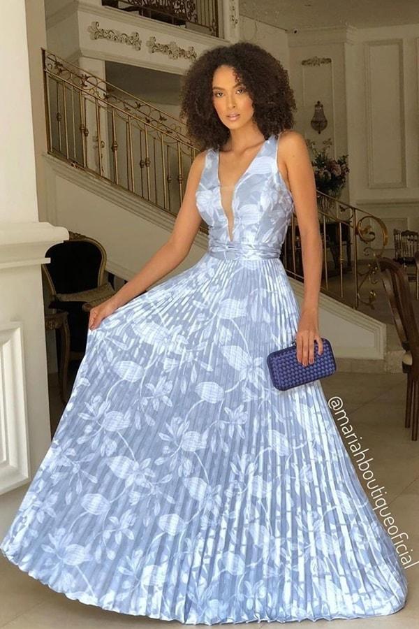 vestido longo azul serenity estampado