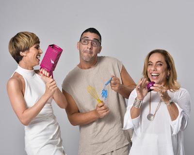 Ana Furtado, André Marques e Cissa Guimarães na gravação do fim de ano da Globo — Foto: Fábio Rocha/ TV Globo