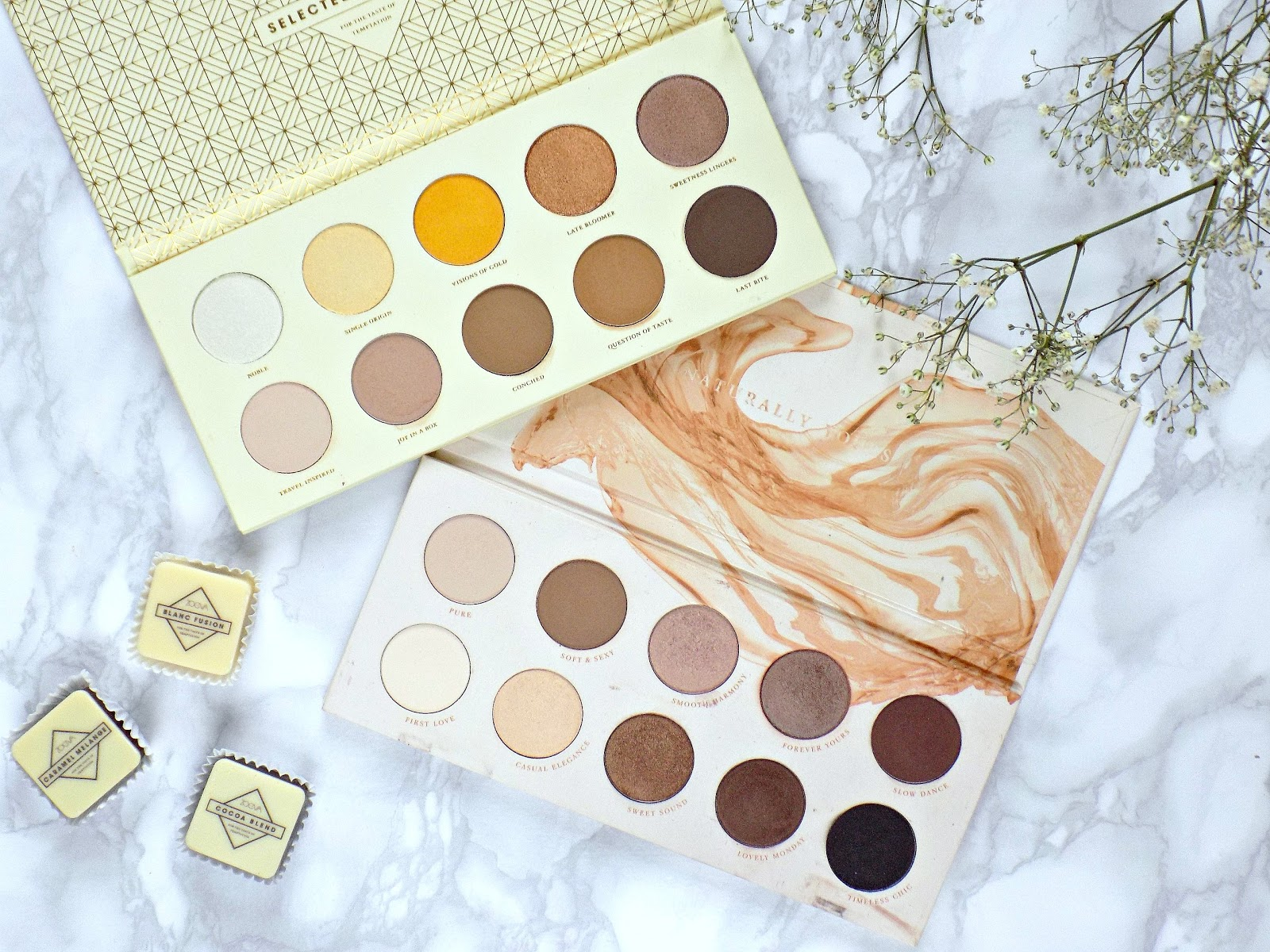 Zoeva Blanc Fusion palette vs Naturally Yours palette