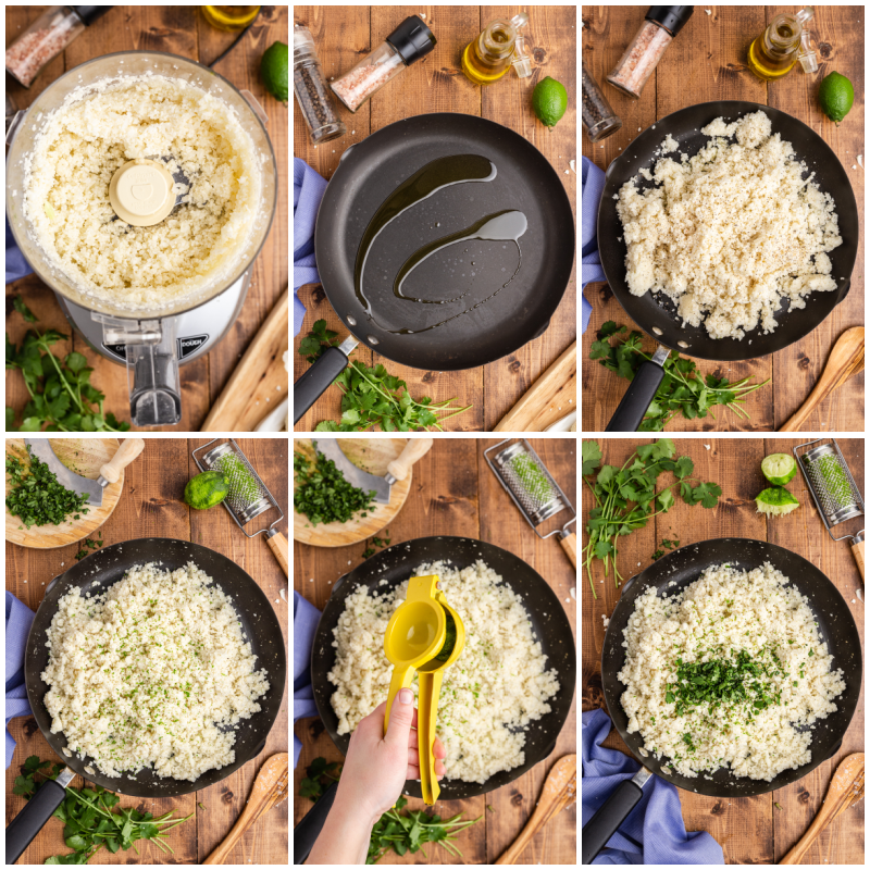 Six photos of the process of making Copycat Chipotle Cilantro Lime Cauliflower Rice.