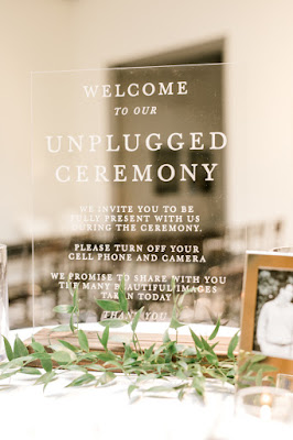 clear unplugged wedding ceremony sign