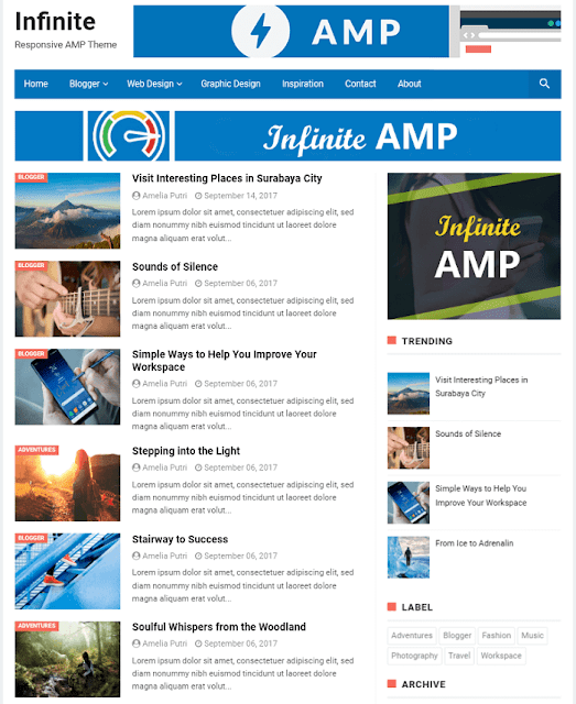 Infinity AMP :10 best AMP Blogger templates to use in 2020