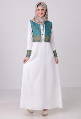 Model Gamis Batik Kombinasi Polos masa kini