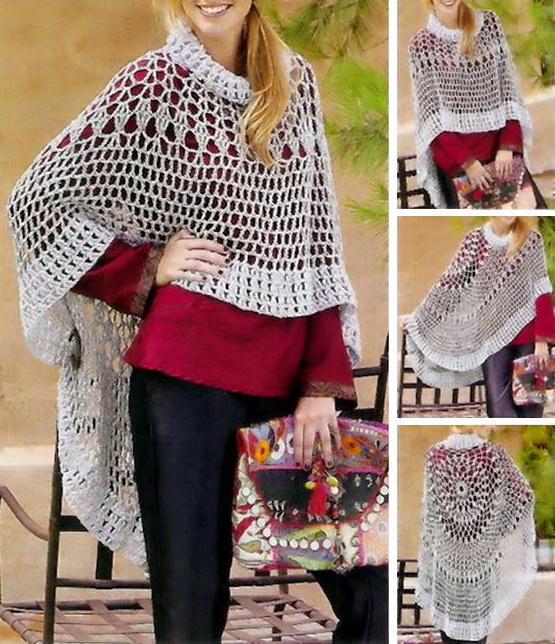 Asymmetric Circular Crochet Poncho Pattern