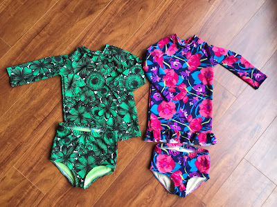 Girls swimsuits made from the Oliver+S Field Trip Raglan sewing pattern and the Cost Swimsuit sewing pattern.