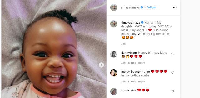 Timaya baby, Maya Clocks 1 years old as he celebrates her (Photos)