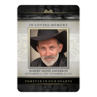 Black Gold Contemporary Memorial Service Invite