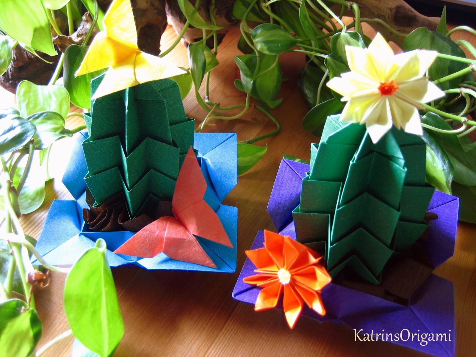 origami die kunst des papierfaltens origami kakteen. Black Bedroom Furniture Sets. Home Design Ideas