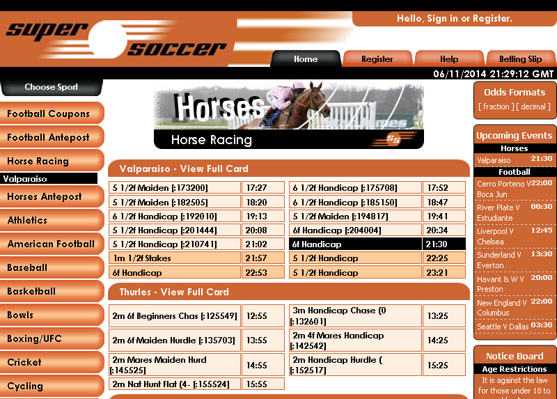 Super Soccer Horse Racing Screen