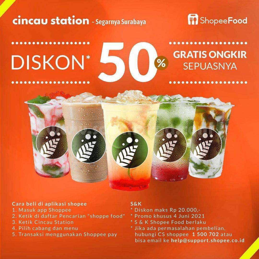 Promo CINCAU STATION Diskon 50% + Gratis Ongkir Sepuasnya via ShopeeFood
