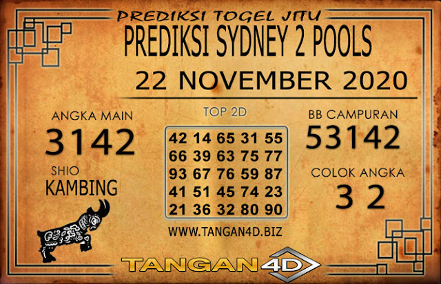 PREDIKSI TOGEL SYDNEY 2 TANGAN4D 22 NOVEMBER 2020