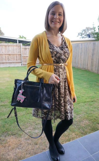 mustard cardigan belted over ruffled animal print sleeveless dress winter office style Regan bag | awayfromblue