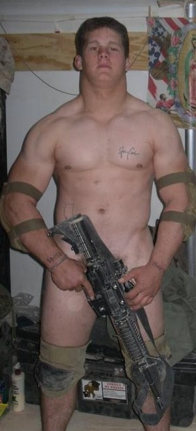 nude guy with gun