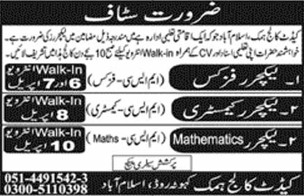 Staff Required In Cadet College Islamabad