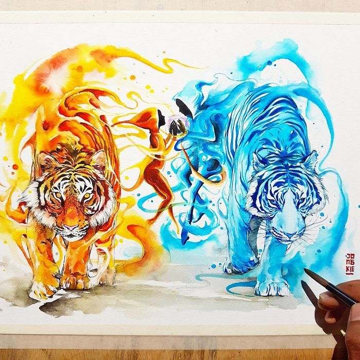 01-Tigers-Jongkie-art-Luqman-Reza-Mulyono-Vibrant-Fantasy-Watercolor-Animal-Paintings-www-designstack-co