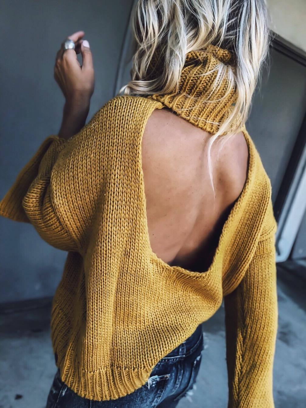 trendy open back sweater to wear this season