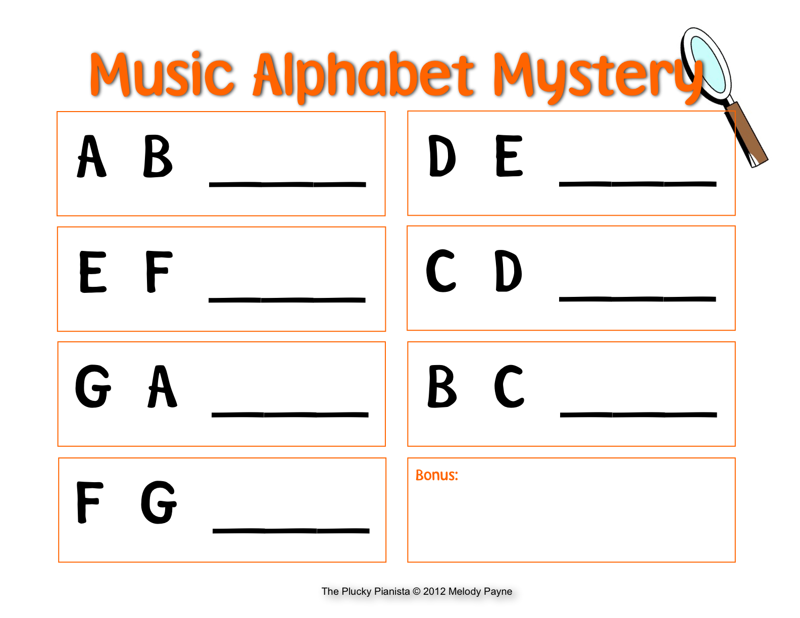 WORKSHEET ASSESSMENT FOR Musical Alphabet &amp- Great for Music ...