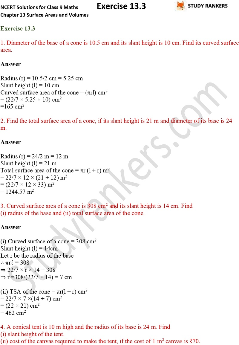 NCERT Solutions for Class 9 Maths Chapter 13 Surface Areas and Volumes Exercise 13.3 Part 1