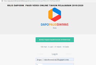 Rilis Dapodik Paud Versi Online Tahun Pelajaran 2019/2020 semester ganjil