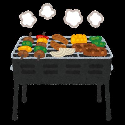 バーベキューコンロのイラスト(肉つき)