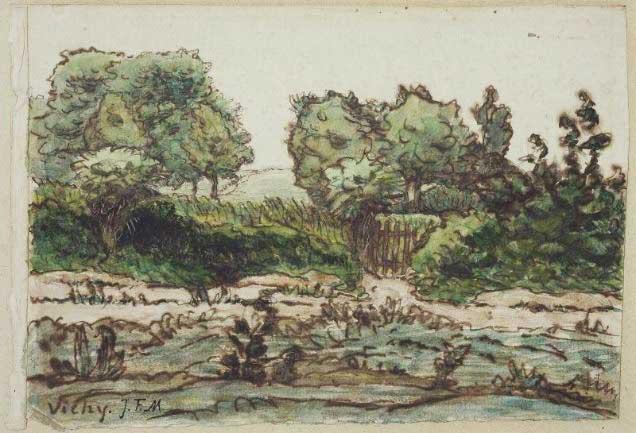 Жан Франсуа Милле - Забор сада под Виши. 1867