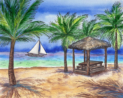 Tropical Paradise With Palm Trees and Sailboat Beach Ocean Shore Watercolor by Irina Sztukowski