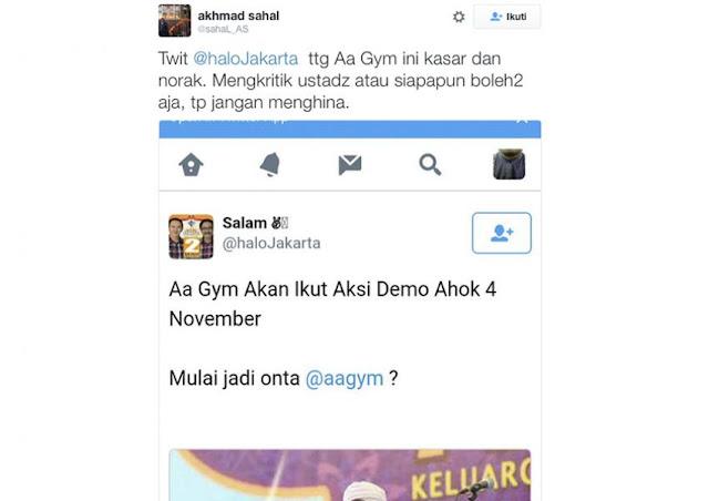 Astagfirullah! Buzzer Ahok Sebut AA Gym Kayak Unta, Netizen Langsung Cecar Habis