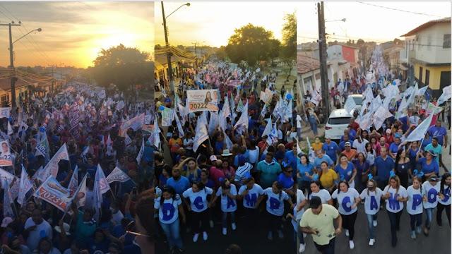 Coligação de Fred Campos arrasta multidão em caminhada pelas ruas de Paço do Lumiar