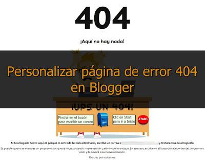Cómo personalizar y redirigir página de error 404 en Blogger