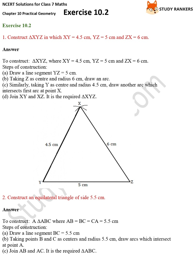 NCERT Solutions for Class 7 Maths Ch 10 Practical Geometry Exercise 10.2 1