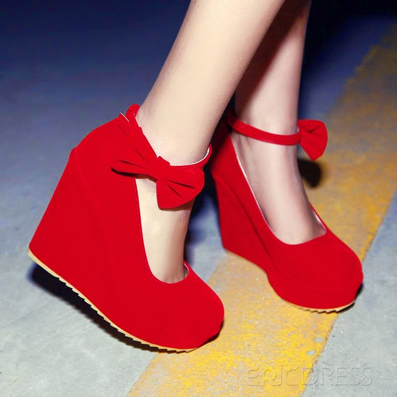 e6da368071d68d www.ericdress.com product Lastest-Suede-Wedge-Heel-Round-Toe-Prom-Shoes -With-Belt-In-Red-10635537.html