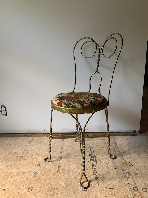 Gold Wrought Iron Ice Cream Parlor Chair