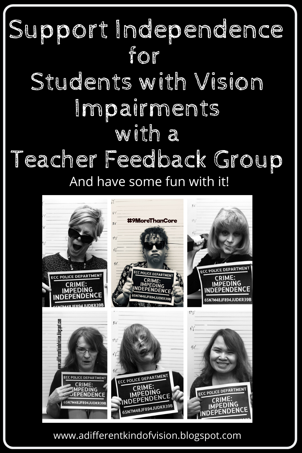 Graphic of the title, support independence for students with vision impairments with a teacher feedback group