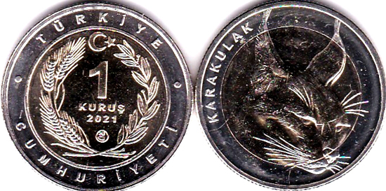 Turkey 1 lira 2021 - Caracal