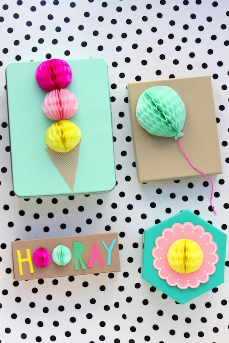 DIY honeycomb balls gift wrapping