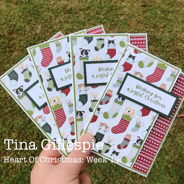 scissorspapercard, Stampin' Up!, Heart Of Christmas, Words Of Cheer, Sweet Stockings DSP, Sheetload Of Cards, Christmas Cards