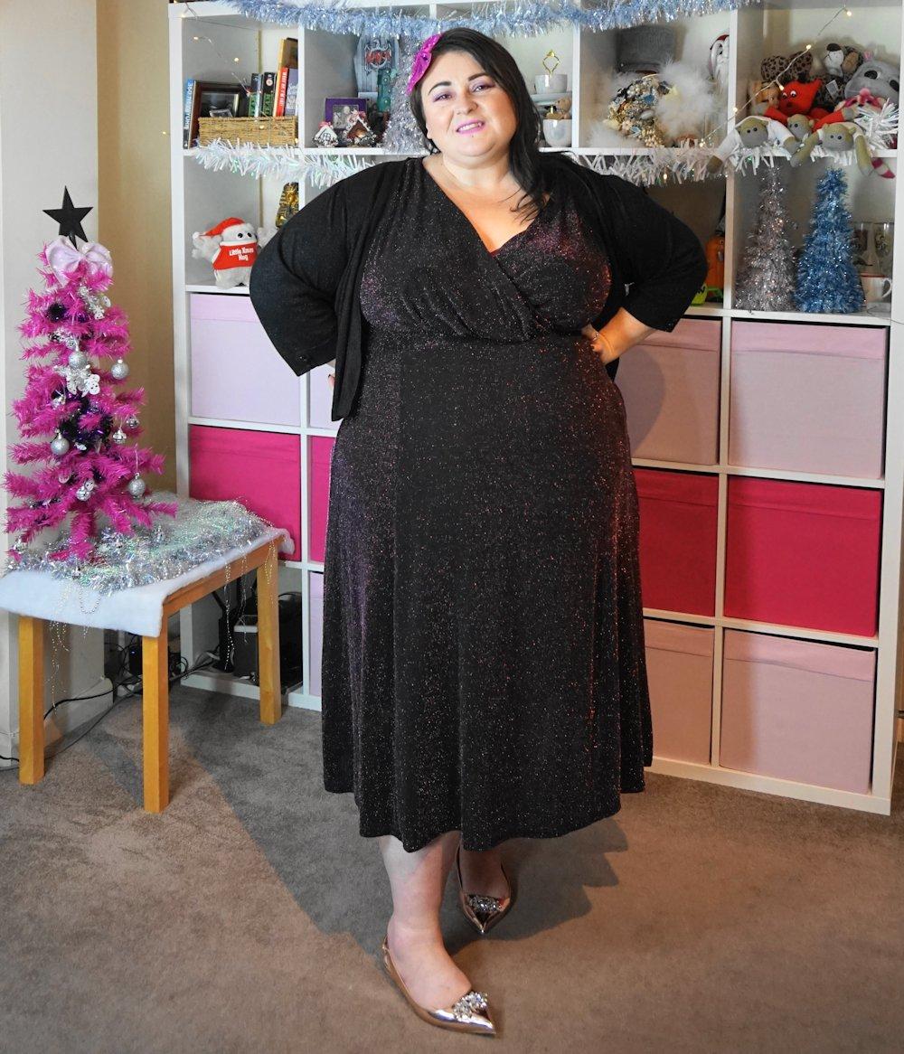 Yours-Clothing-Black-and-Rose-Pink-wrap-front-Sparkle-Midi-Dress plus size Christmas dress // www.xloveleahx.co.uk the size 28 UK fashion blogger
