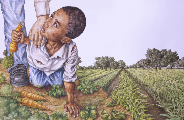 Spread from Papa's Free Day Party showing a young Black boy in a garden holding a carrot with a white man's hand on his shoulder