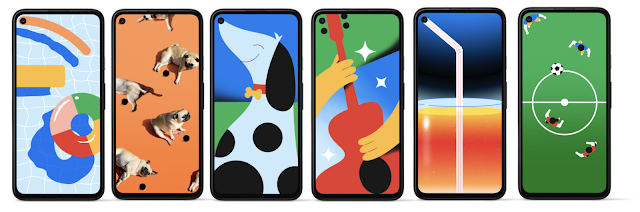 A collage of 6 custom wallpapers on the Pixel