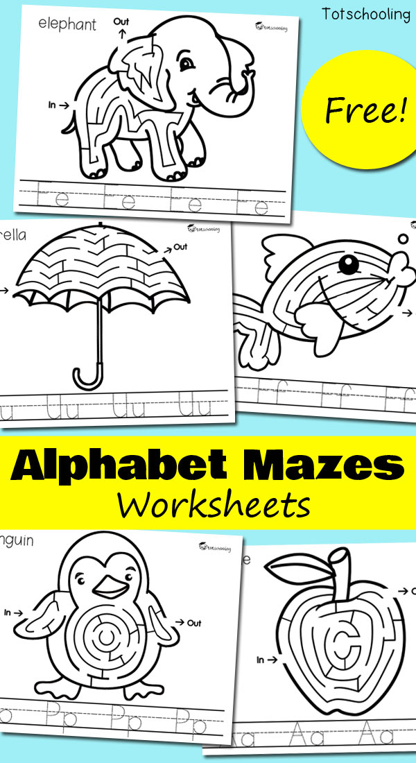 FREE printable letter tracing and letter maze worksheets for preschoolers to practice the alphabet. Also featuring a review of Fiddle & Doodle hands-on Match and Learn puzzles.