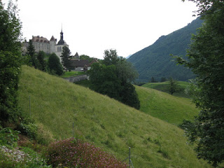 View of the church and château from the hotel in Gruyères, Switzerland