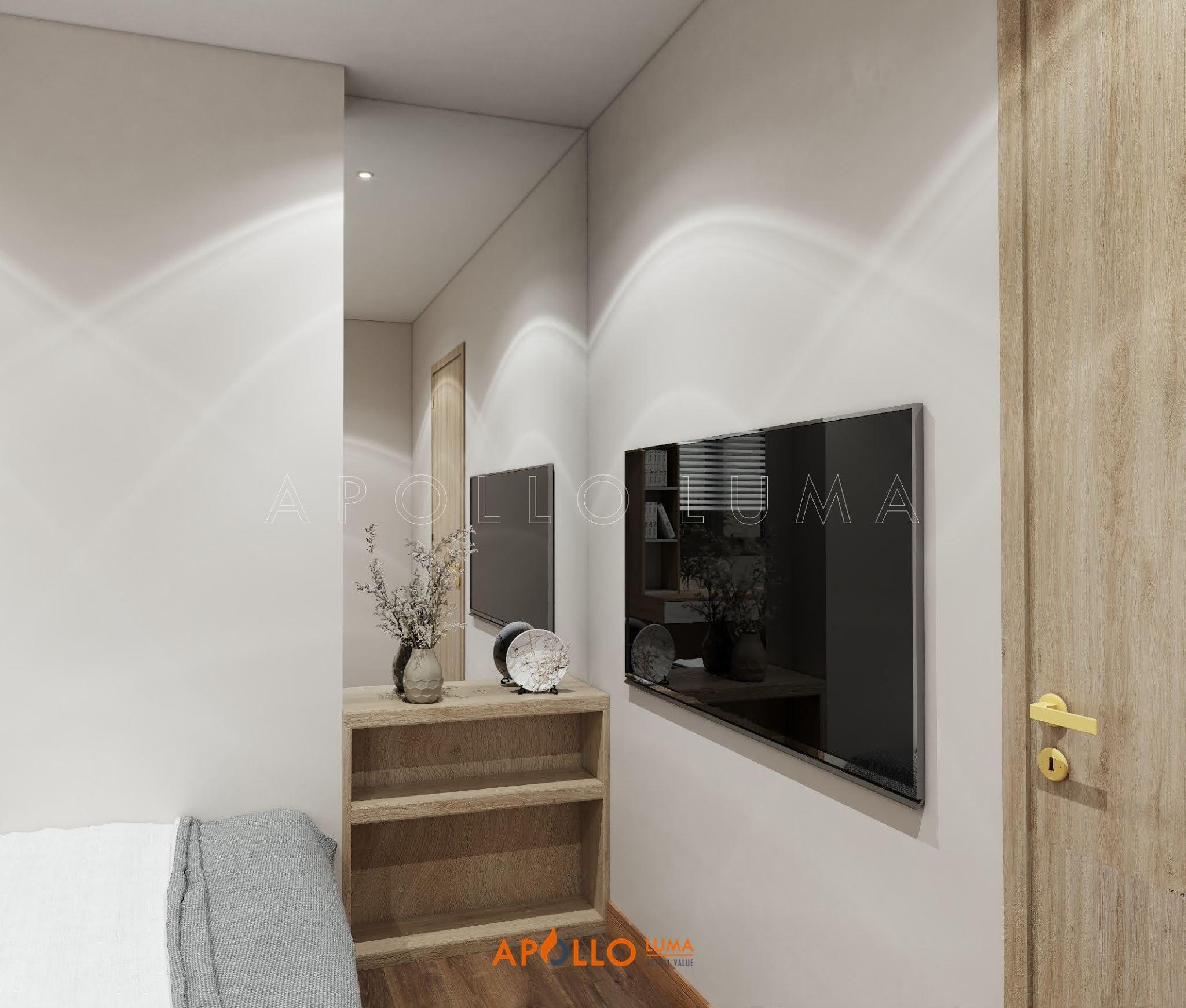 Thiết kế nội thất phòng ngủ: Tủ quần áo khung nhôm cánh kính cao cấp