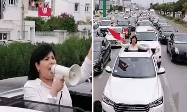عبير موسي تقود مسيرة حاشدة بالسيارات للحزب الدستوري الحرّ