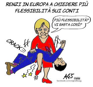 Flessibilità, conti pubblici, europa, brexit, renzi, merkel, austerità, economia, satira, vignetta