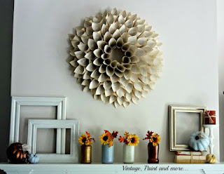 Vintage, Paint and more... book page wreath and a fall mantel