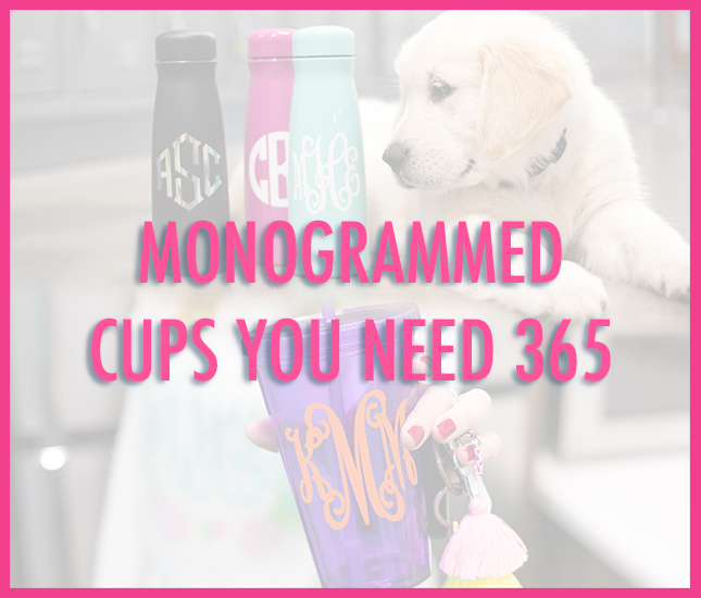 purple, black, mint, and pink monogrammed cups with puppy